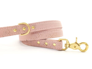 Pink girl dog/puppy leash in light pastel pink vegan cork leather with luxury brass hardware