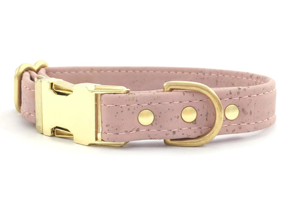 Vegan dog collar in pink cork leather with luxury brass hardware, made in the UK