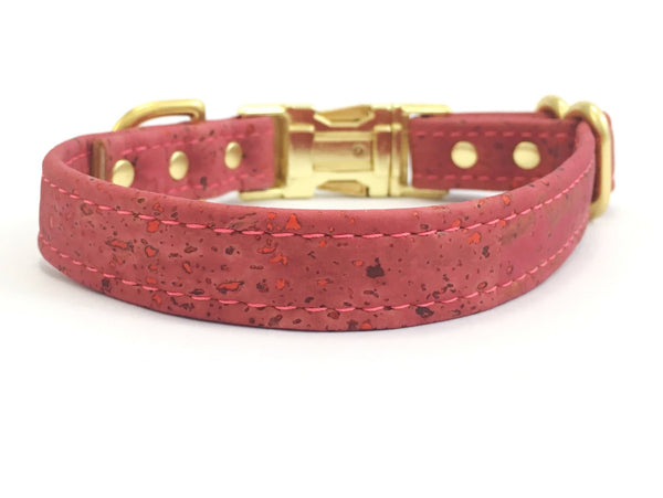 Pink dog collar in rose pink vegan cork leather and brass, available in extra small, small, medium and large