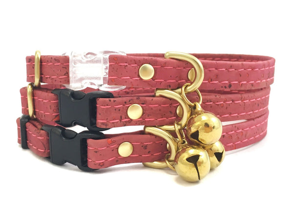 Pink cat collar in ethical vegan cork leather with breakaway safety buckle and bell, made in the UK