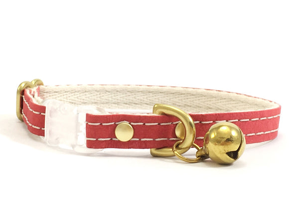 Red vegan leather cat collar with soft cotton webbing, breakaway safety buckle and solid brass bell