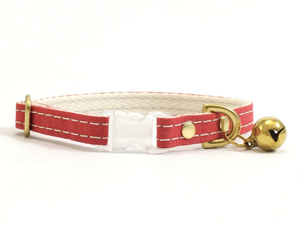 Red cat collar in vegan leather with breakaway safety buckle and bell