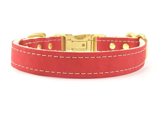 Red dog and pupy collar in ethical vegan leather and cotton webbing with brass buckle, matching lead available