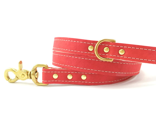 Red Vegan Leather Dog Lead With Solid Brass Trigger Snap Hook