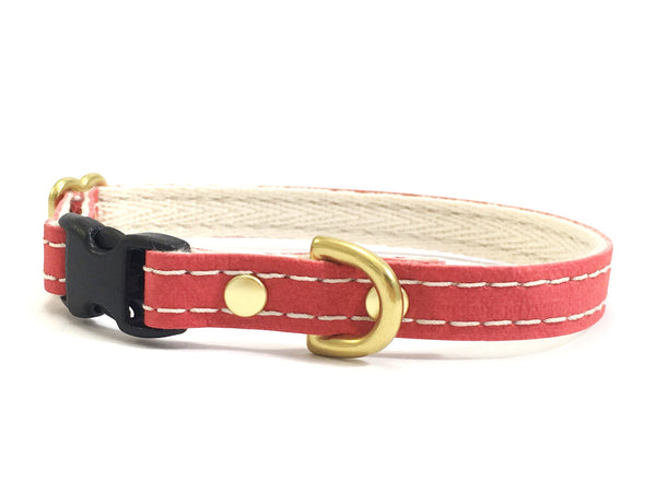 Red vegan leather little dog or puppy collar with soft cotton webbing and brass hardware