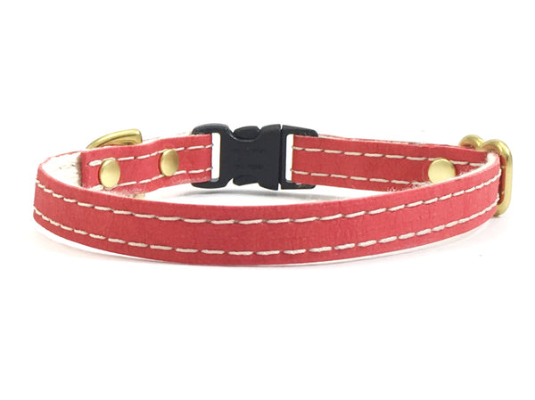 Red miniature toy dog collar in vegan faux leather and luxury brass