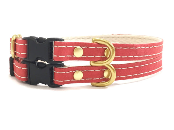 Red toy dog collar in luxury vegan leather, cotton webbing and solid brass, made in the UK