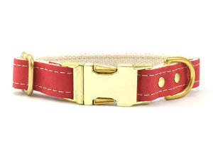 Red vegan leather dog collar with soft cotton webbing and solid brass hardware, made in the UK