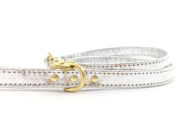 Bling silver dog lead in unique Pinatex vegan leather with solid brass trigger snap hook