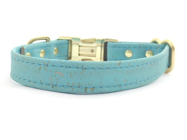 Turquoise Blue Vegan Cork 'Leather' Dog Collar With Brass Buckle
