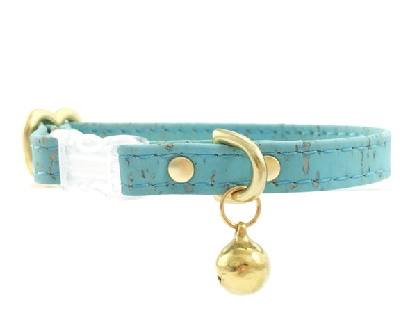 Turquoise blue cat collar in vegan cork leather with breakaway safety buckle and brass bell