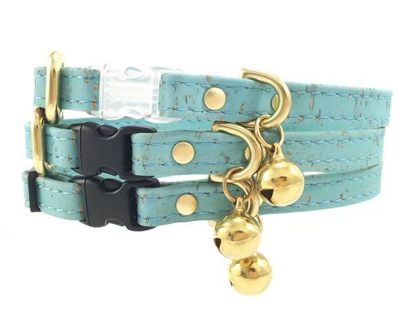 Unique cat collar in turquoise ethical vegan cork leather with breakaway safety buckle and bell