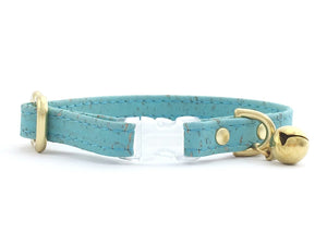 Turquoise blue cat collar with breakaway safety buckle and bell