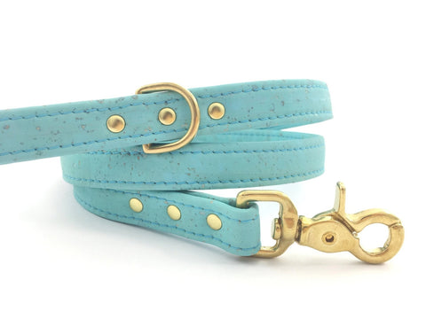 Luxury turquoise blue vegan cork leather dog lead / leash with solid brass trigger snap hook and d ring, made in the UK by Noggins & Binkles