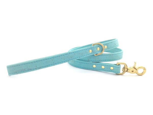 Turquoise vegan leather dog or puppy lead in sustainable and ethical vegan cork leather and brass