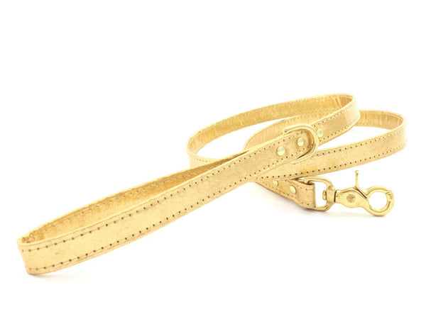 Bling gold dog leash in luxury vegan Pinatex leather with matching collar available