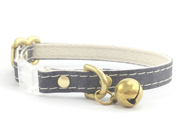 Grey cat collar in eco friendly vegan leather and cotton webbing with bell