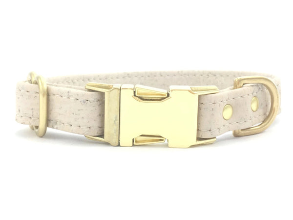 Luxury ivory white vegan cork 'leather' dog collar with brass buckle and solid brass hardware, by Noggins & Binkles