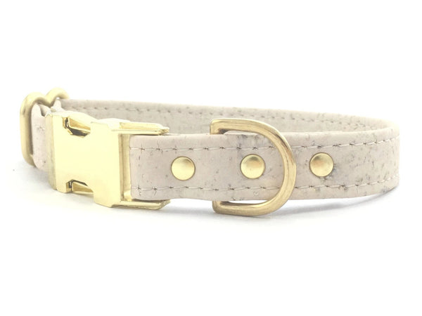 White dog or puppy collar in eco friendly vegan cork leather and luxury brass hardware, made in the UK
