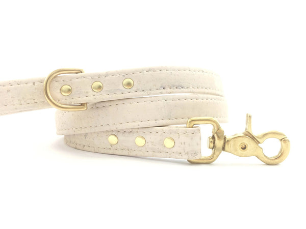 White dog lead in luxury and ethical vegan cork leather with gold brass hardware, made in the UK