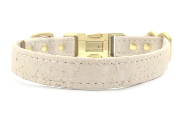 White wedding dog collar in luxury vegan cork leather with solid brass hardware, made in the UK