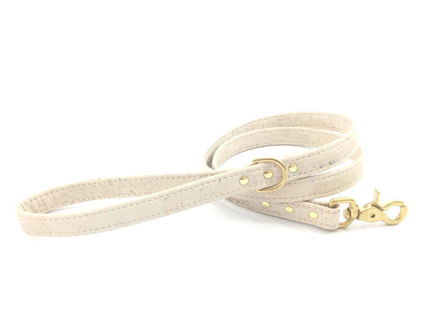 White dog leash in eco friendly vegan cork leather with luxury brass hardware, matching collar available, perfect for weddings.