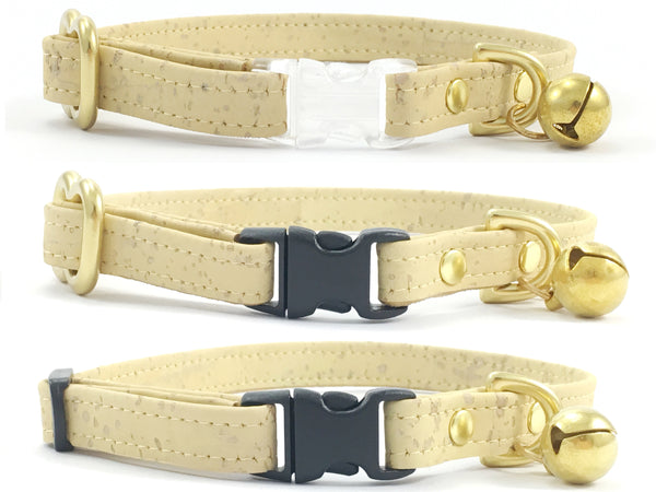 Stylish pastel lemon yellow vegan cork 'leather' breakaway safety cat collars with solid brass bell and be customised with a choice of black or transparent breakaway buckle and solid brass or black slider