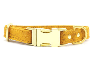 Yellow dog collar in luxury vegan cork leather with brass buckle, made in the UK