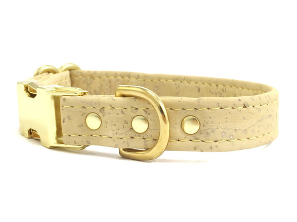 Yellow dog collar in pastel vegan cork leather and luxury brass, made in the UK