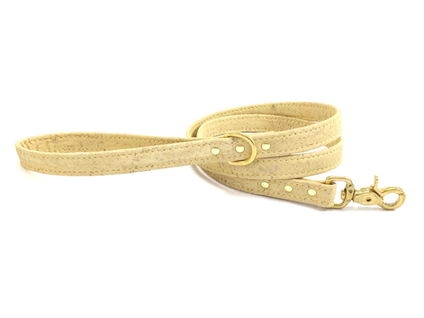 Yellow dog leash / lead in pastel vegan cork leather, matching collar available, made in the UK