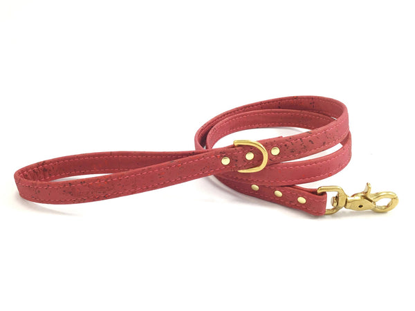 pink dog and puppy lead in unique vegan cork leather and brass trigger snap