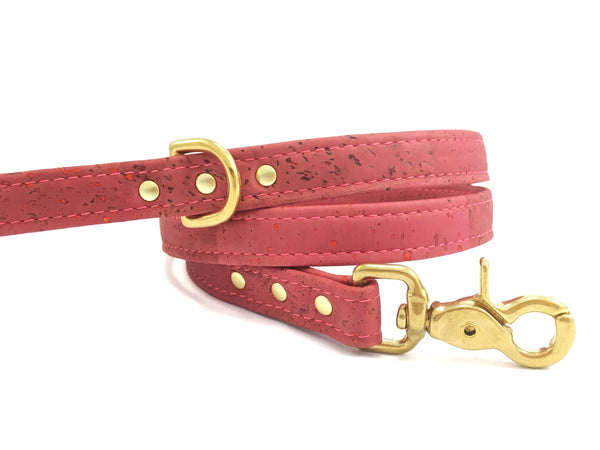 Pink dog lead in luxury vegan cork leather and solid brass
