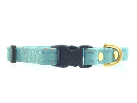 Turquoise Blue Vegan Cork 'Leather' Miniature Dog Collar With Solid Brass Hardware