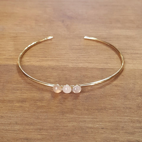 Bracelet jonc Quartz rose