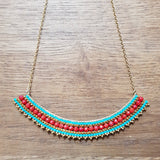 Collier Anita Turquoise/Rouge