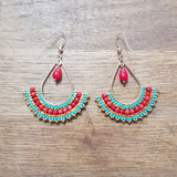 Boucles Anita Rouge et Turquoise
