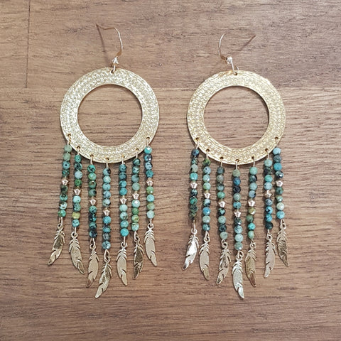 Boucles Indiana Turquoise d'Afrique
