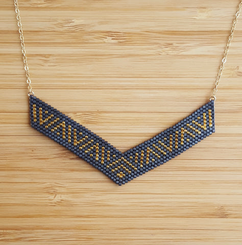 Collier Incas Gris & or