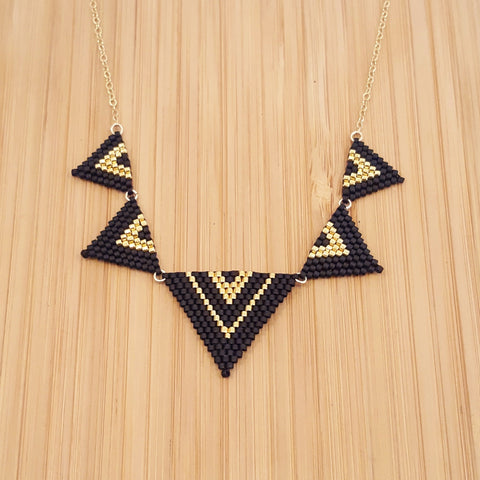Collier Yuka Noir & Or