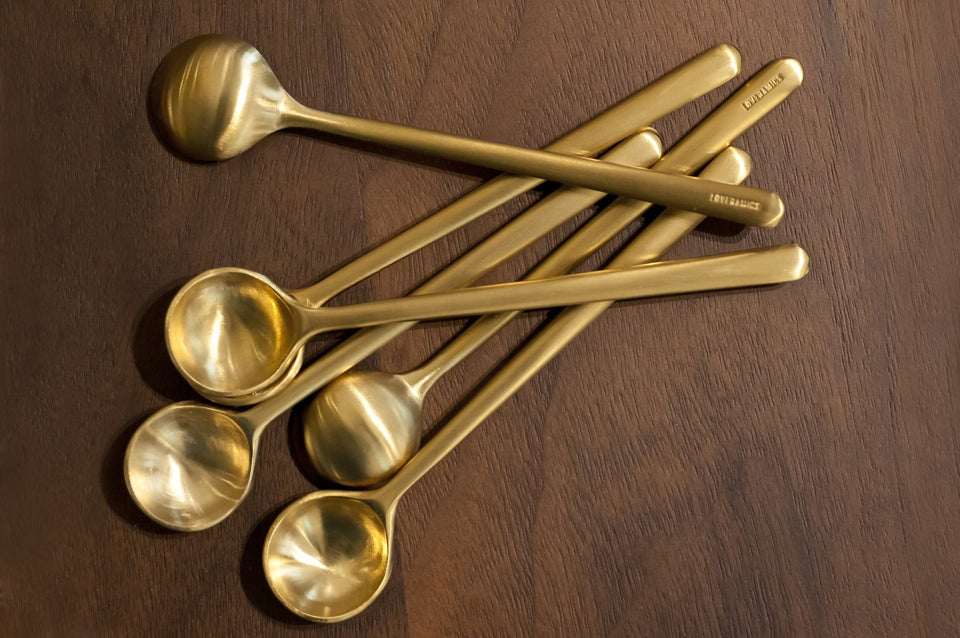 Set of 6 x 10cm Spoon (S) (Brass) - Archiology