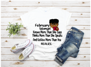 February Woman Birthday Shirt
