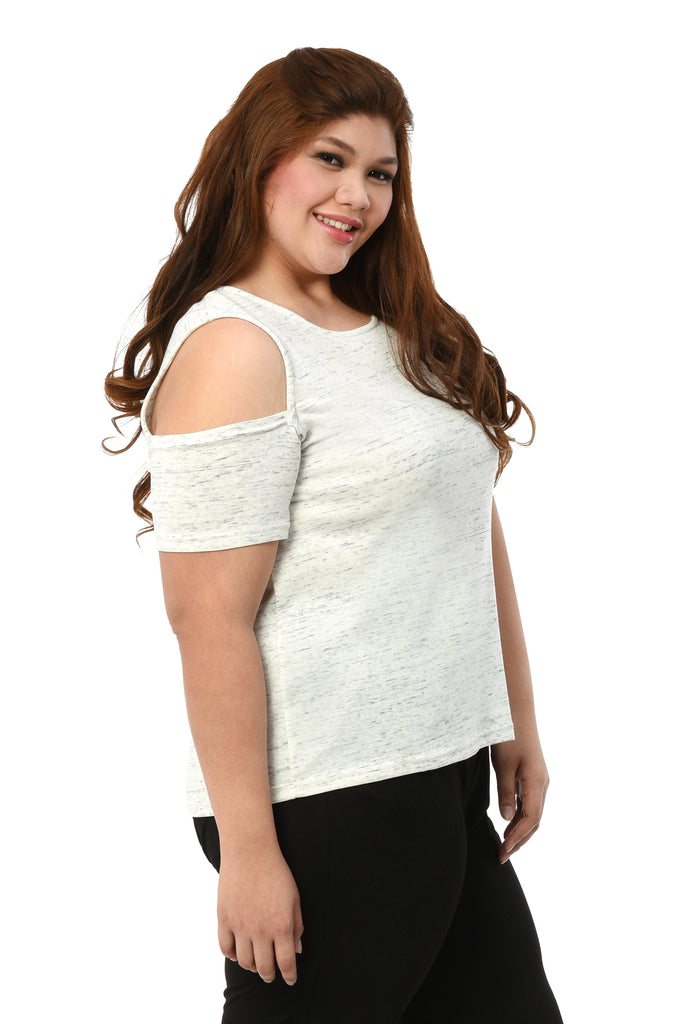 Cold-Shoulder Knit Top (FBL 005) White Heather