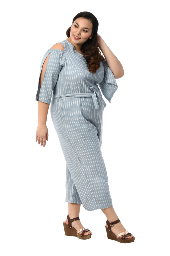 Cold-shoulder Striped Jumpsuit (FJP 008)