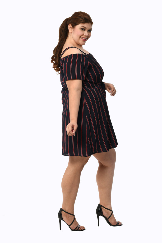 Striped Cold-Shoulder Dress (FDS 003)