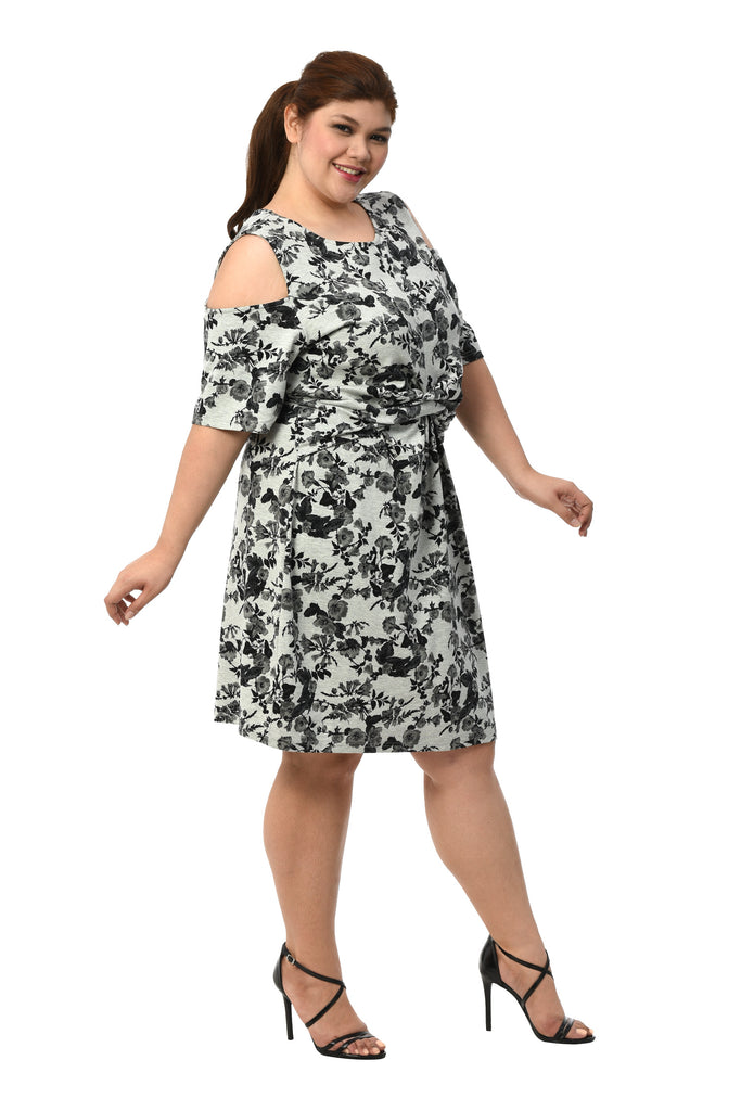 Floral Cold-Shoulder Dress (FDS 007) Floral