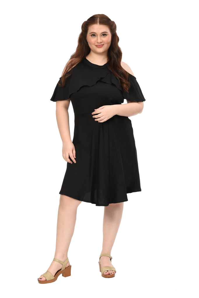 Halter dress with cold-shoulder drape sleeves (FDS-001 A)
