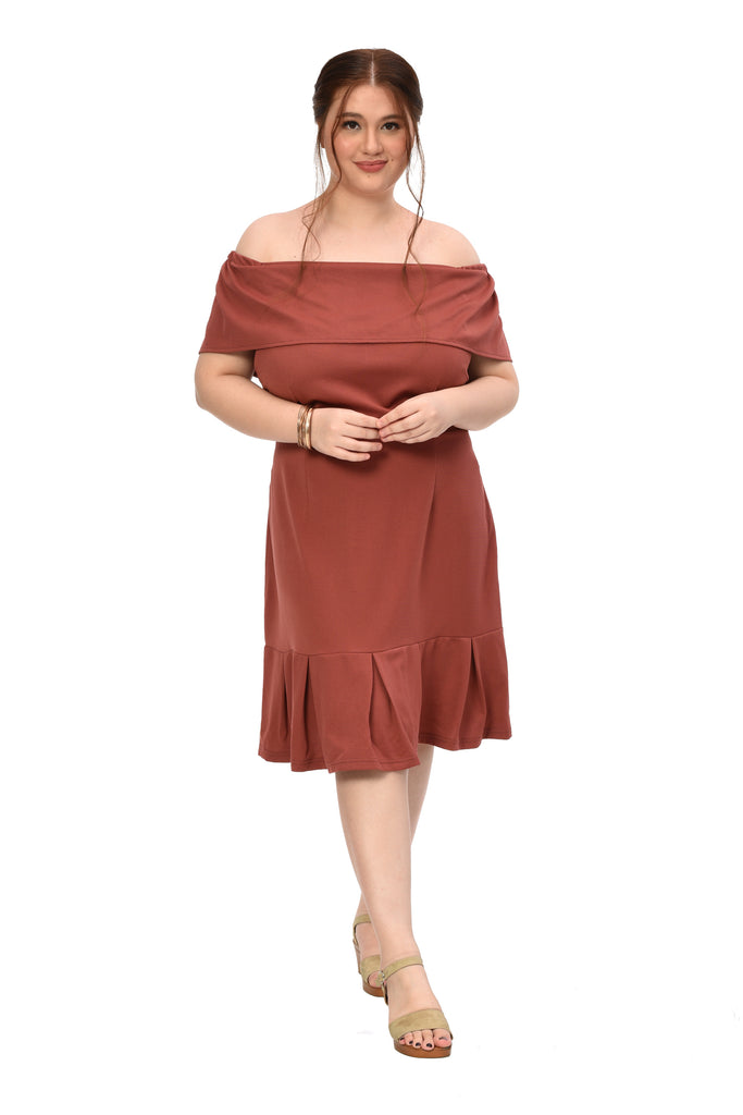 Off shoulder Frill Dress (FDS 009) Rust