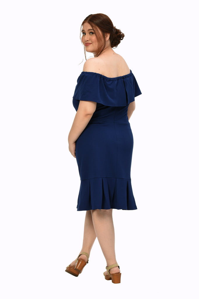 Off shoulder Frill Dress (FDS 009) Navy blue