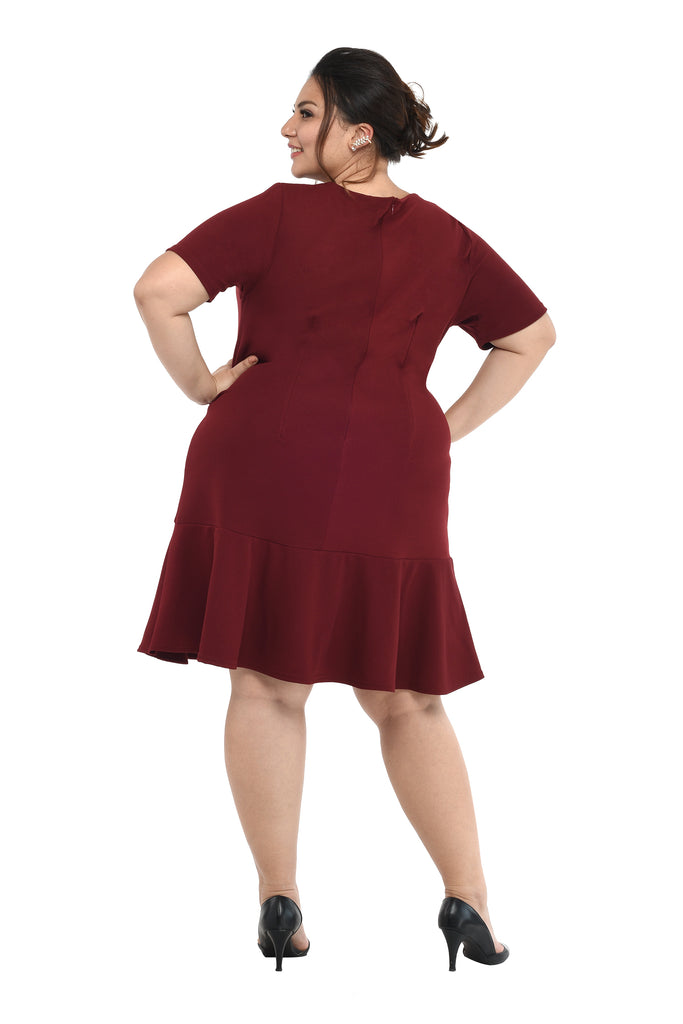 Flounce Dress (FDS 025) Wine