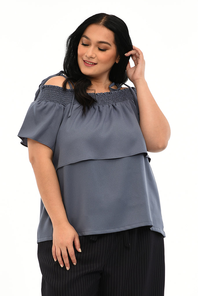 Smocked Off Shoulder-Layered Top (FBL 036) - Dusty Blue